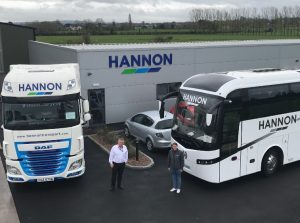 Aodh Hannon, Managing Director, & Victoria Hannon, Operations Manager of Hannon Coach, outside the Companies Headquarters.
