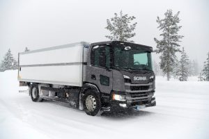New Scania Engine Driven in the Snow - Export and Freight